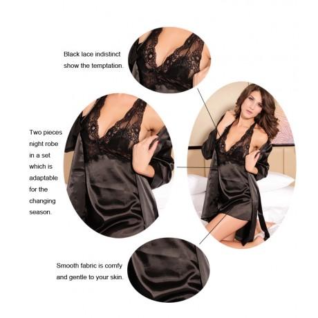 2PC Smooth Seduce Slip Satin Sleepwear Black