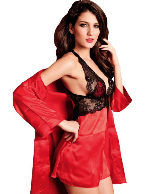 2PC Smooth Seduce Slip Satin Sleepwear Red