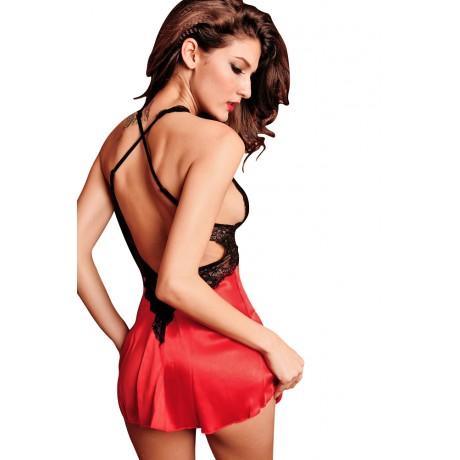 2PC Smooth Seduce Slip Satin Sleepwear Red