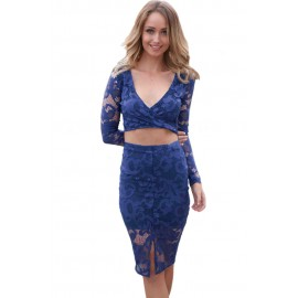 Blue Flower Lace Long Sleeves Party Skirt Set