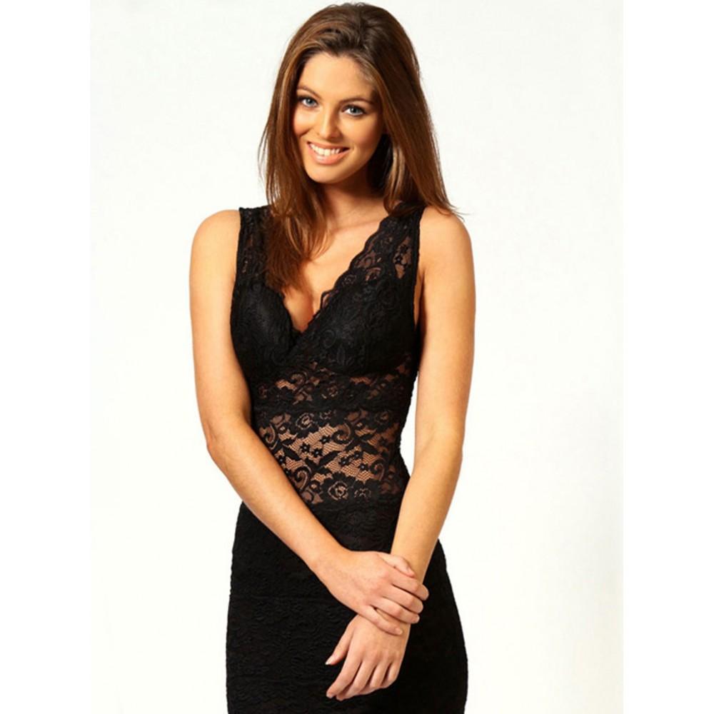 Allover Lace Strappy Fitted Cup Bodycon Mini Dress Black