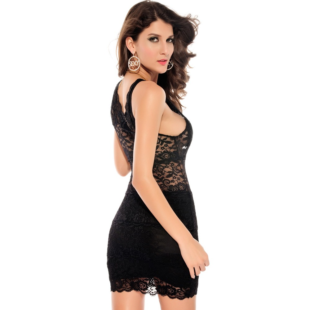 Allover Lace Strappy Fitted Cup Bodycon Mini Dress Black