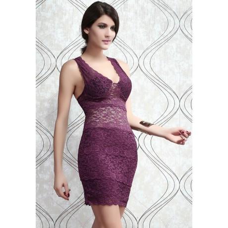 Allover Lace Strappy Mini Dress Purple