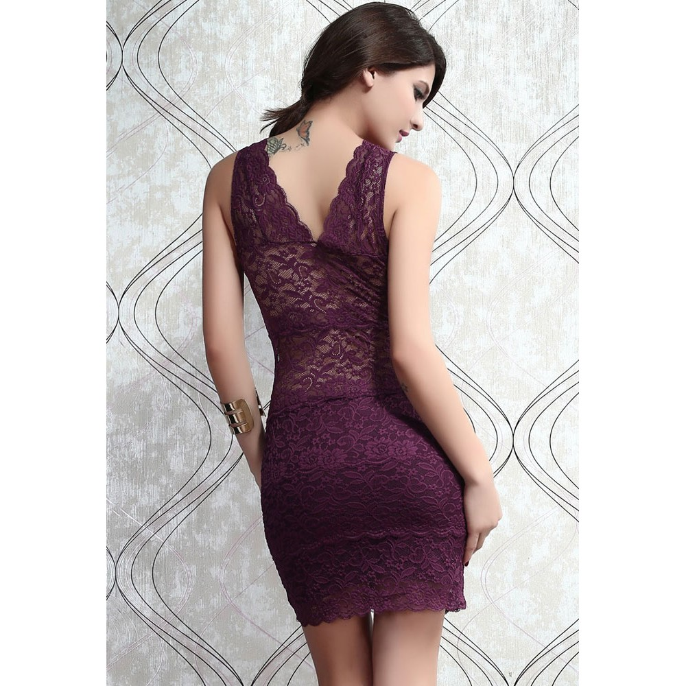 Allover Lace Strappy Fitted Cup Bodycon Mini Dress Purple