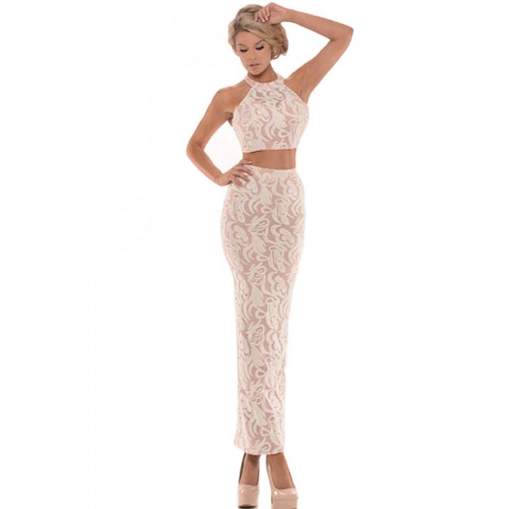Allure You Two Piece Halterneck Floral Skirt Set
