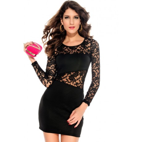 Amanda O-Neck Lace Insert Mini Dress Black