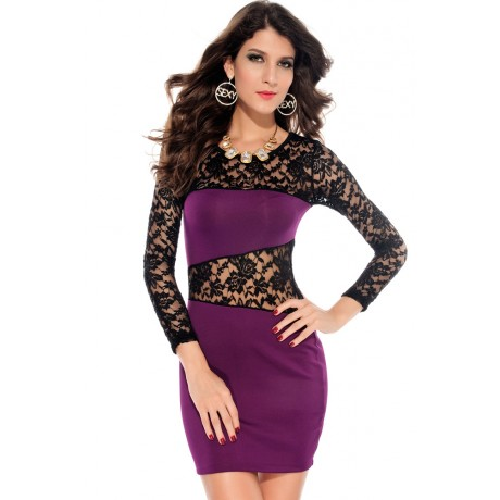 Amanda O-Neck Lace Mini Dress Purple
