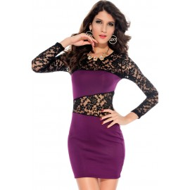 Amanda O-Neck Lace Insert Mini Dress Purple