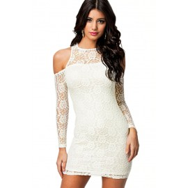 Angelic White Cold Shoulder Lace Stretch Body Mini Dress