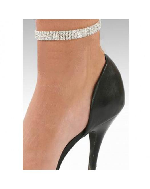 3 Row Crystal Silver PL Stretchy Rhinestone Ankle Bracelet