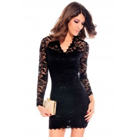 Annabel Victorian Flowery Lace Bodycon Black Mini Dress