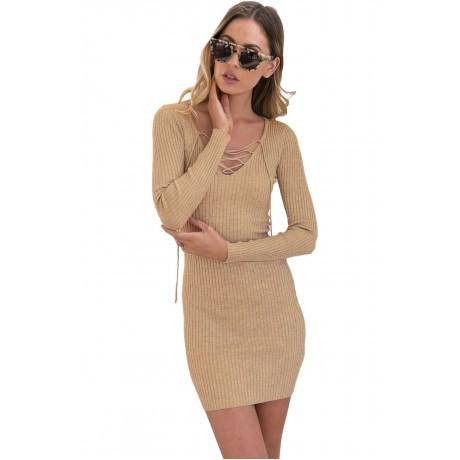 Apricot Lace Up V Neck Long Sleeve Rib Knit Dress