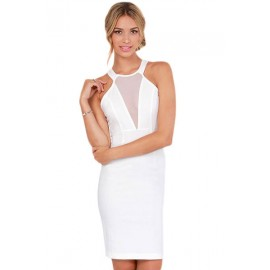 Cutout Halter Bodycon Dress White