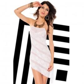 Asymmetric Lace Slip Chemise White