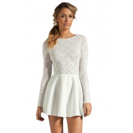 Avery Partially Lined Lace Upper Cut Out Mini Dress White