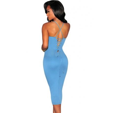 Azure Halter Lace-Up Midi Dress