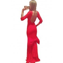 Big Bow Accent Red Evening Dress