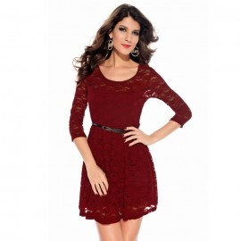 Fabulous Look Lace Ballet Midi Dress with Belt Red