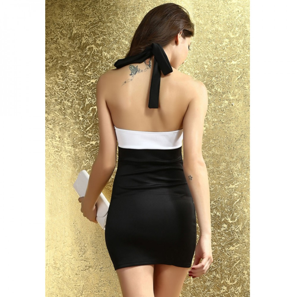 Classic Sequin Bandage Dress Black And White Color