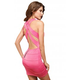 Banded X Back Tank Mini Dress With G-String Pink