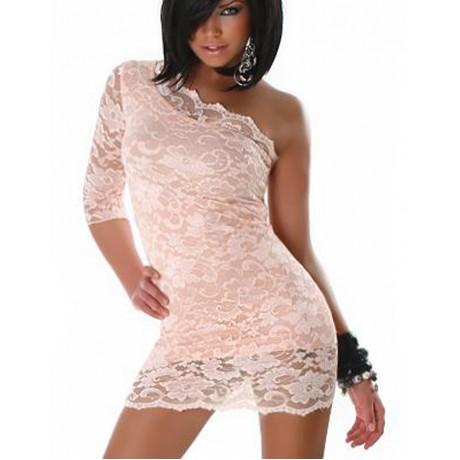 One Sleeve Mini Dress Beige