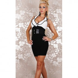 Sexy Mini Dress With Belt Black And White