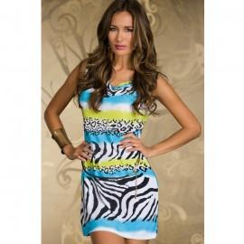 Novelty Zebra Stone Casual Dress with Belt Light Blue