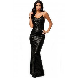 Shinning All over Sequin Low Back Hollow Out Gown Long Dress Black