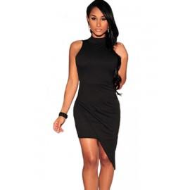 Black Asymmetrical Mock Neck Night Club Mini Dress