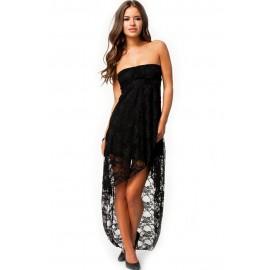 Knee-Length Bandeau Lace Evening Dress Black
