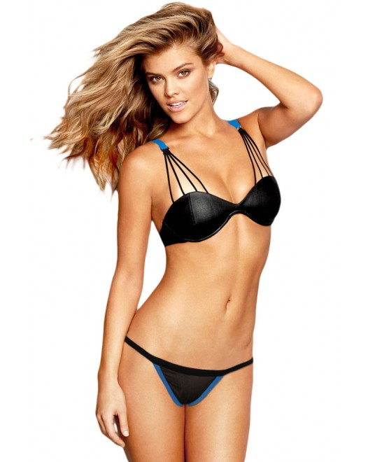 Black Blue Exquisite Cutout Sexy Bikini Swimsuit