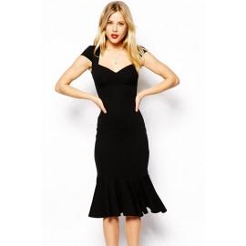 Flouncing Hemline Bodycon Midi Dress Black