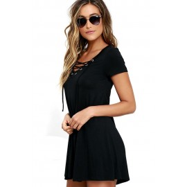 Black Casual Lace-up Swing Skater Mini Dress Cover Up