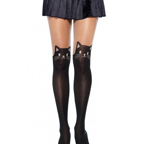 Black Cat Print Nude Thigh High Stockings Pantyhose