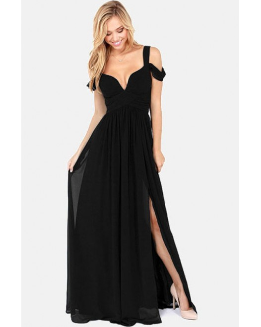 Elegant Hammock Chiffon Party Maxi Dress Black