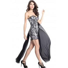 Black Chiffon Hem Strapless Dress