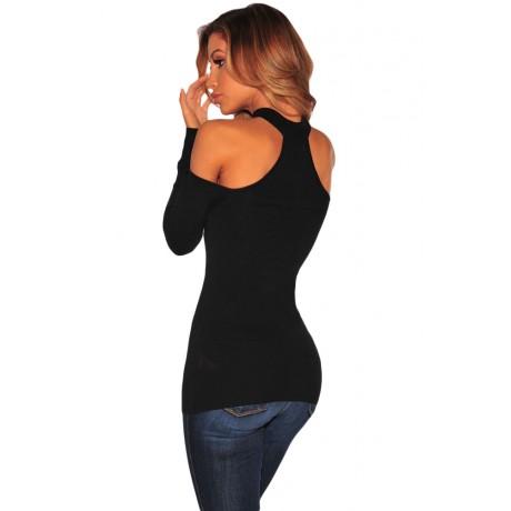 Black Choker Off Shoulder Long Sleeve Top
