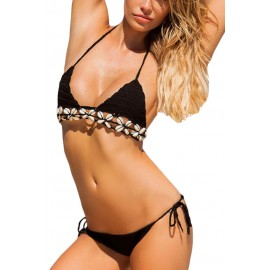 Black Crochet Bikini Swimsuit with Shells