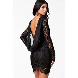 Crochet Hollow Out Back Dress Black