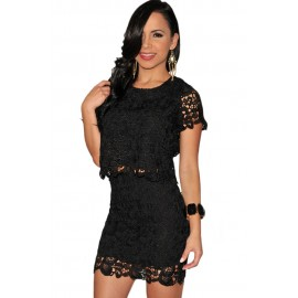 Black Crochet Two Piece Party Club Mini Skirt Set