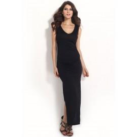 V-Neck Black Hollow Cut Out Back Evening Party Dress