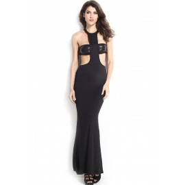 Cutout  with Sequin Chest Wrap Evening Party Dress Black