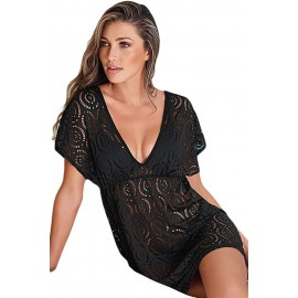 Black Dolman Sleeve Lace Cover-up