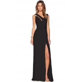 Black Draped Cowl Back Gown Sleeveless Jersey Maxi Dress