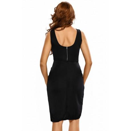 Black Draped Backless Midi Dress