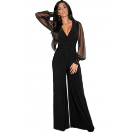 Embellished Cuffs Long Mesh Sleeves Jumpsuit Black