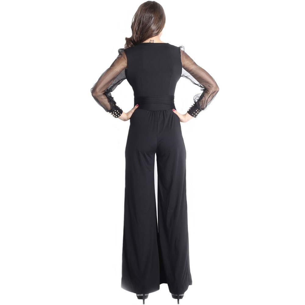 a6e7bbb50f93 Embellished Cuffs Long Mesh Sleeves Jumpsuit Black