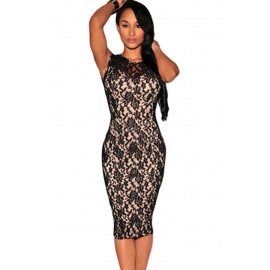 Black Fashion Lace Patchwork Knee length Midi Dress