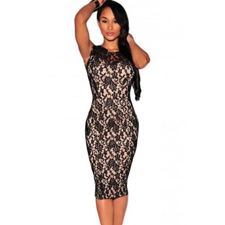 Black Fashion Patchwork Midi Dress