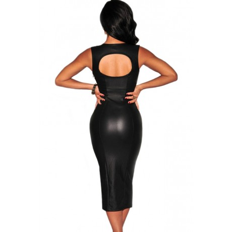 Black Faux Leather Key Hole Back Padded Midi Dress